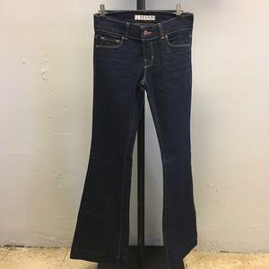J Brand blue denim wide flare jeans.